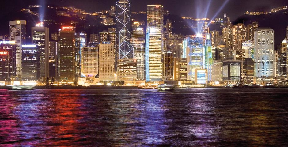 Skyline bei Nacht - Hongkong