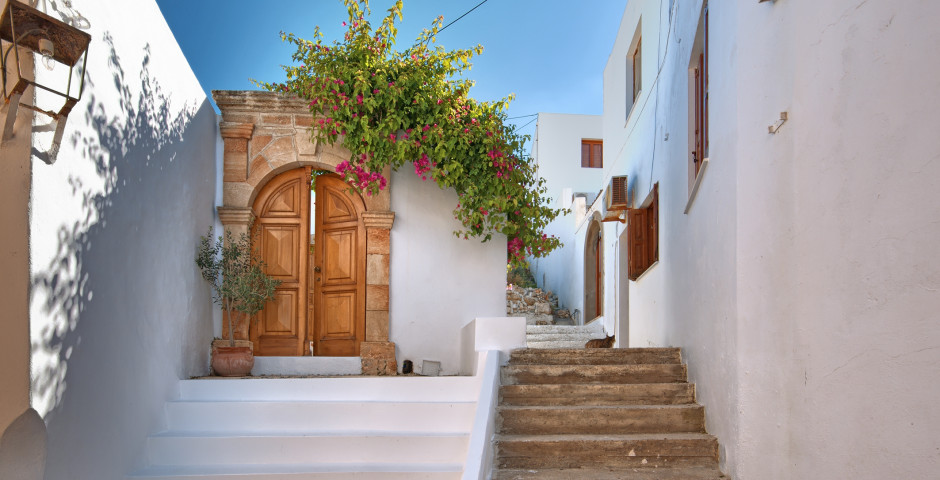 Traditionelle Strasse in Lindos - Rhodos