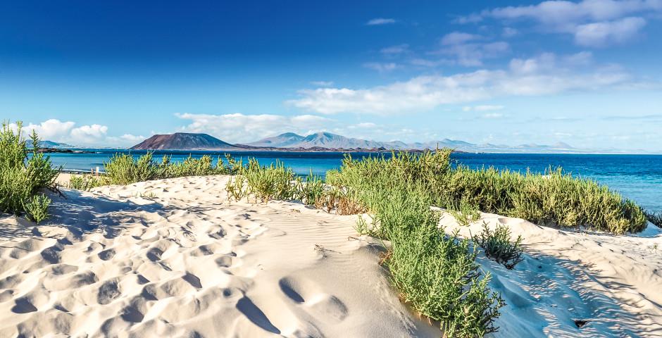 Vue de la plage de Corralejo sur Lobos et Lanzarote - Fuerteventura