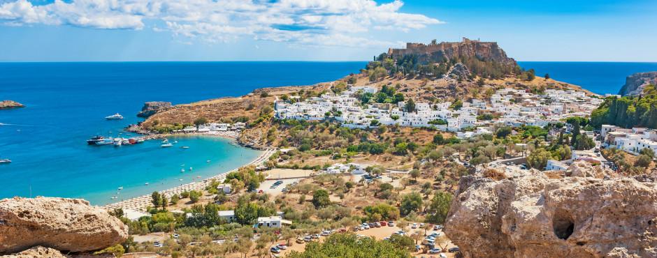 Vue fantastique sur Lindos et la fameuse Acropole