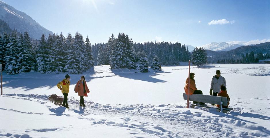 Spaziergang durch die verschneite Landschaft