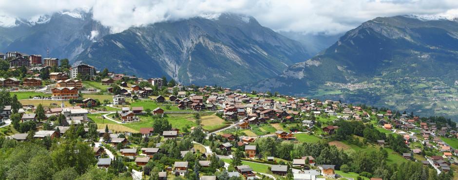 Sicht auf das Dorf Nendaz
