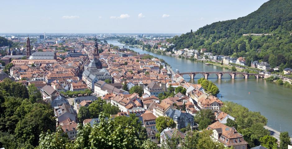 Panoramablick auf Heidelberg und den Neckar - Heidelberg