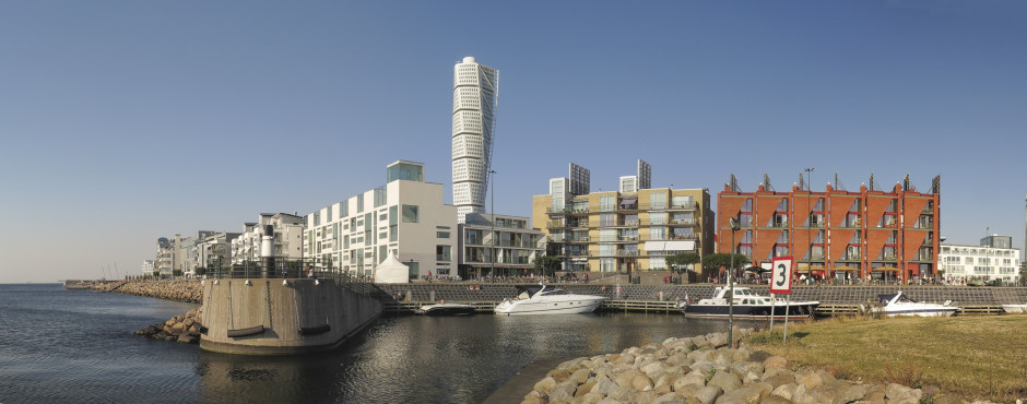 Quartier moderne de Western Harbour avec la tour Turning Torso