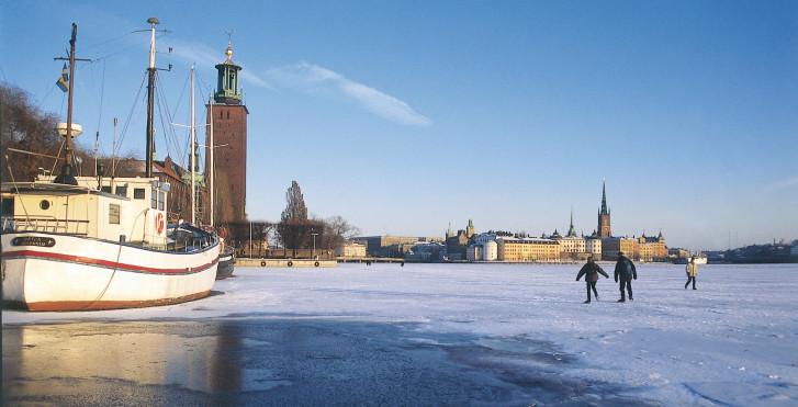 Zugefrorene Riddarfjärden, Schweden