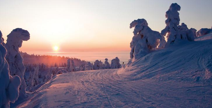 Sonnenuntergang, Saariselkä, Lappland