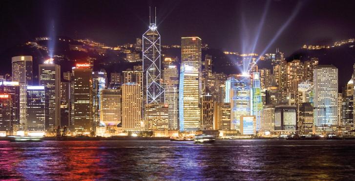 Skyline bei Nacht, Hongkong