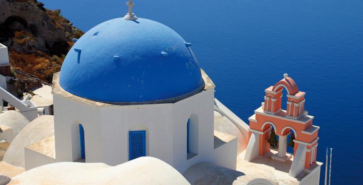 Santorin: maisons blanches, dômes bleus