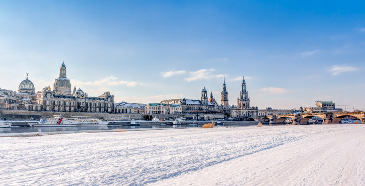 Elbe en hiver, Dresde