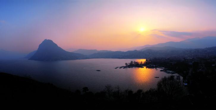 Coucher de soleil, Lac de Lugano