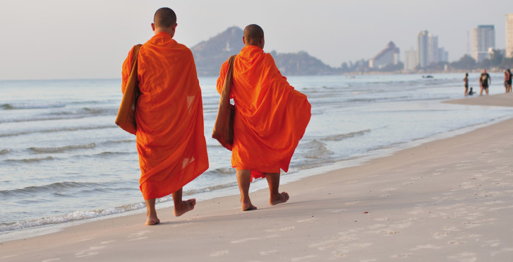 Buddhistische Mönche, Hua Hin Beach