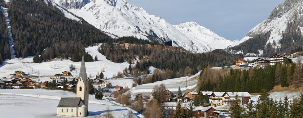 Vue sur Kals en hiver
