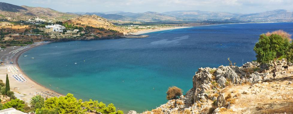 Blick auf den Vlicha Beach in Kalathos