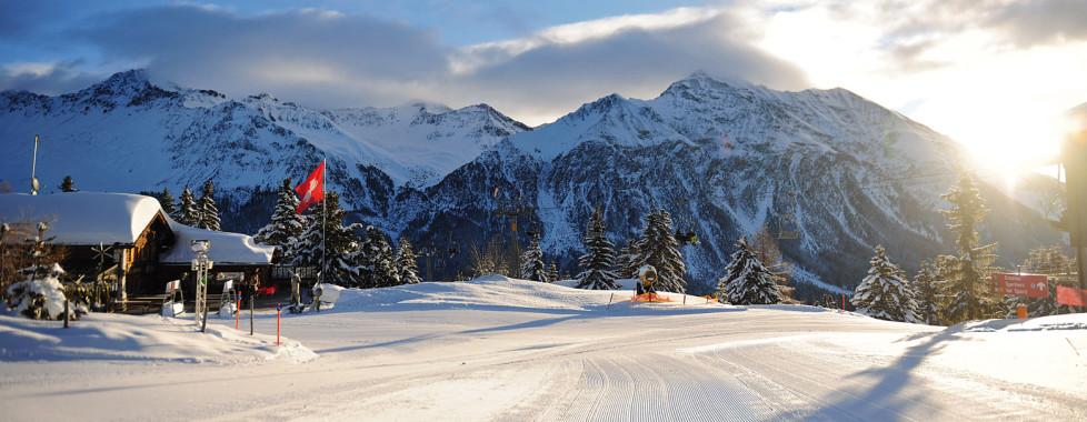 Piste de ski préparée