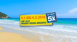 Migros Ferien - Jetzt 5x Cumulus auf alle Ferien-Angebote