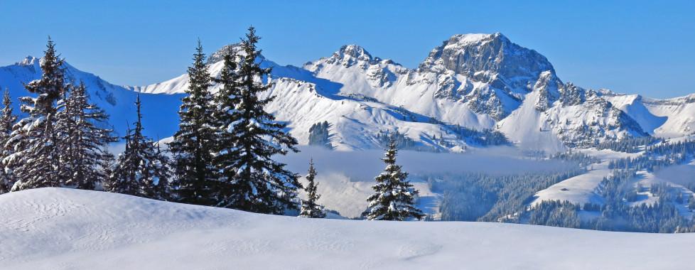 Sicht von hohe Wispile auf den Berg Videmanette, Gstaad