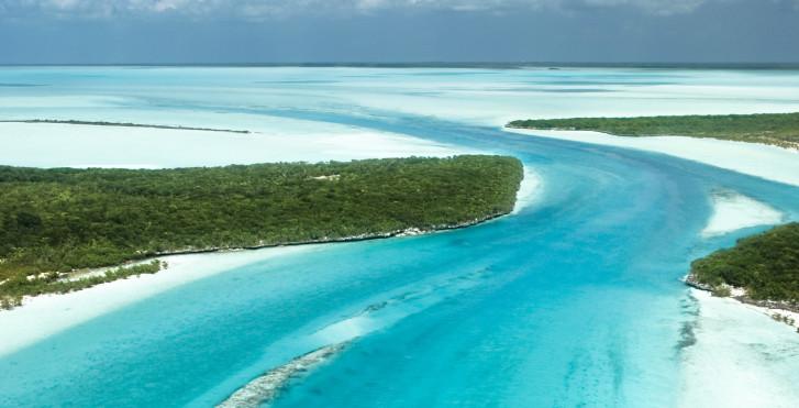 Harbour Island von oben, Bahamas