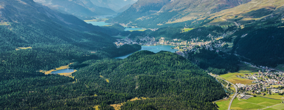 Blick über Celerina und St. Moritz