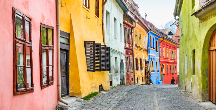 Façades colorées à Sighişoara, Roumanie