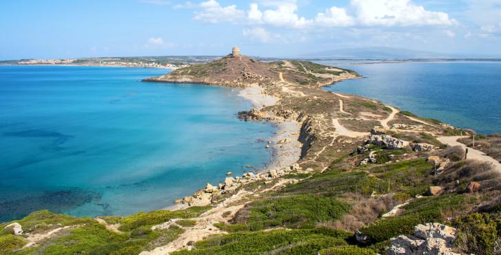 Vue sur la péninsule du Sinis au Capo San Marco