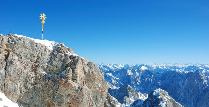 Blick auf den Gipfel der Zugspitze