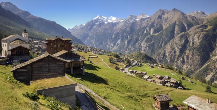 Ausblick auf das Dorf Grächen