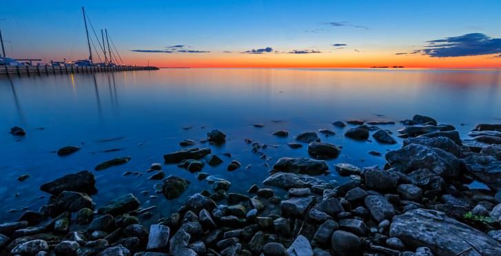 Coucher de soleil, lac supérieur, Bayfield