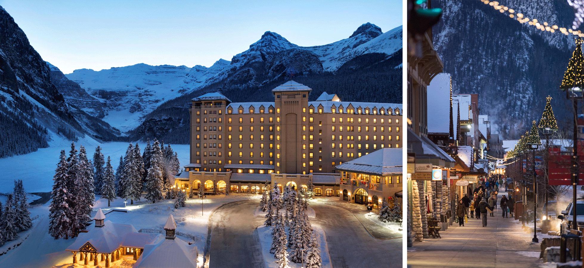 Links: Hotel in Lake Louise. Rechts: Promenade in Banff.