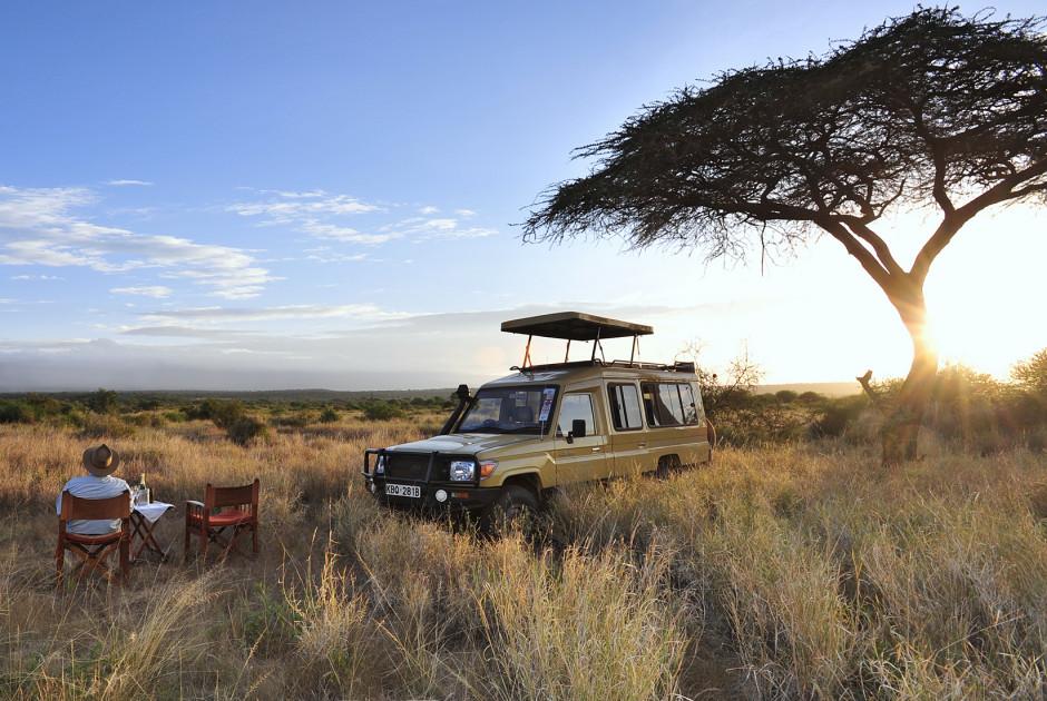 Sonnenuntergang auf Safari