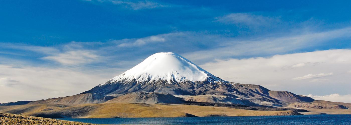 Schneebedeckter Parinacota Vulkan
