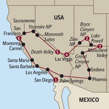 Kalifornien Karte Pdf.Usa Western Discovery Ab Bis Los Angeles