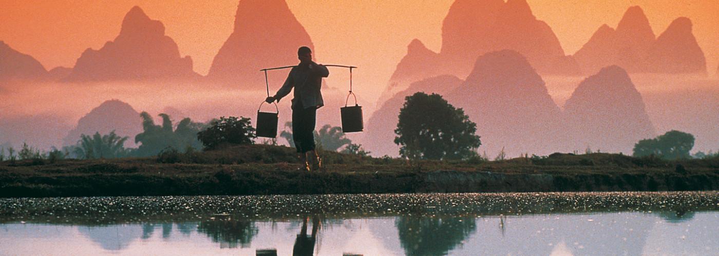 Wasserträger auf einem Reisfeld in der Dämmerung
