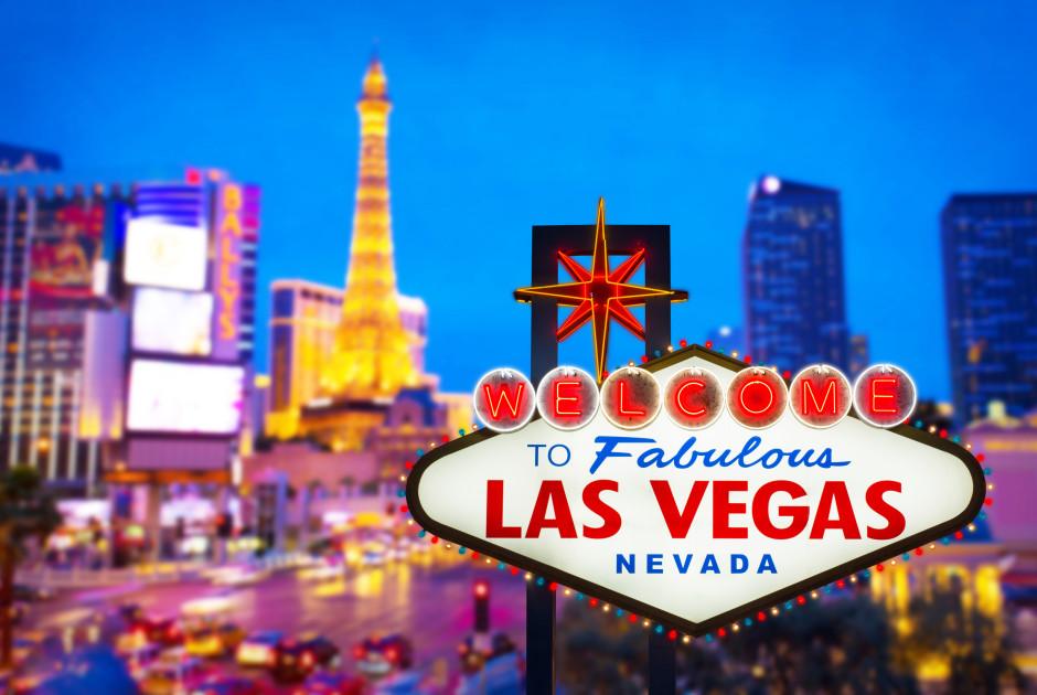 Die Glitzerstadt Las Vegas in der Wüste Nevadas