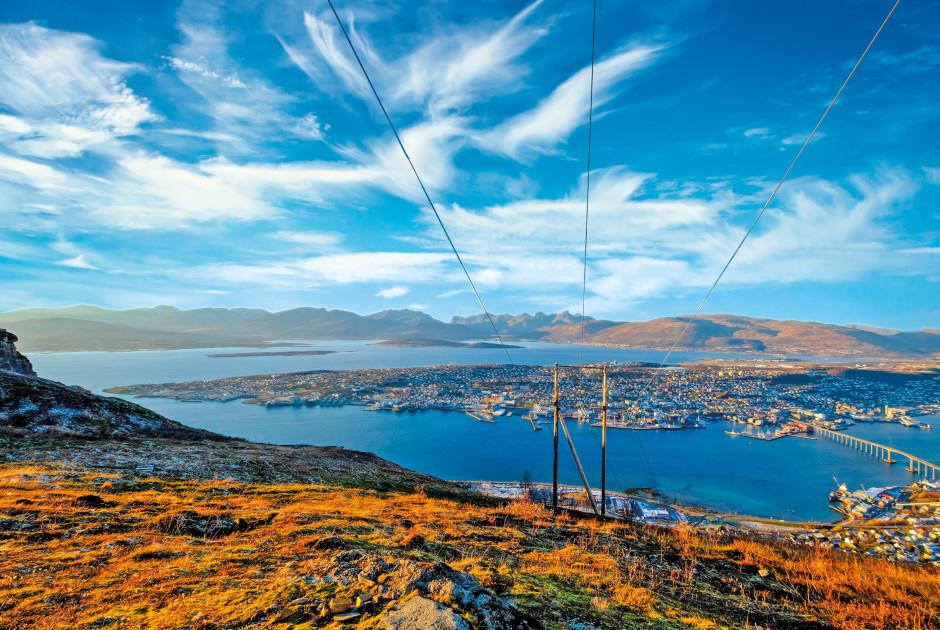 Aussicht über Tromsø vom Hausberg Storsteinen aus